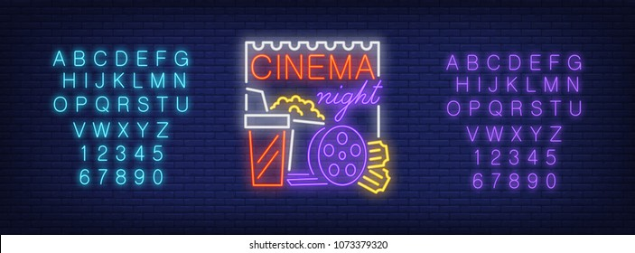 Neon alphabet and Cinema Night text with popcorn, drink, reel and tickets. Entertainment, movie, cinema house. Advertisement concept. For signboards, template design, banners