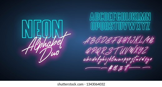 Neon Alphabet duo. Script and bold. Vector fonts.