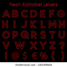 Neon alphabet letters vector art