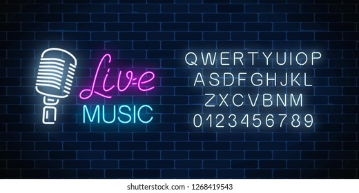 Neon alphabet and signboard of nightclub with live music. Glowing street sign of bar with karaoke and live singers. Sound cafe icon. Rock show poster. Vector illustration.