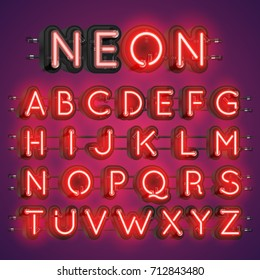 Neon alphabet typography with cases in the back, vector illustration