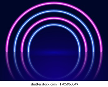 Neon arch-shaped lighting. Abstract background. Vector stok illustration