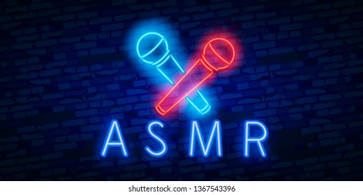 Neon Autonomous sensory meridian response, Vector realistic isolated neon sign of ASMR frame logo for template decoration and covering on the wall background.