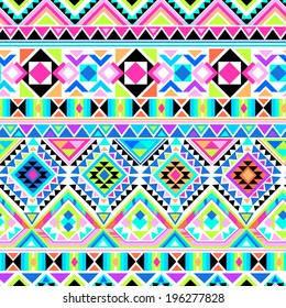 Neon Aztec geometric print ~ seamless vector background