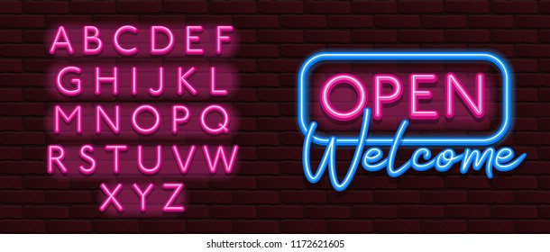 Neon Banner alphabet font bricks wall open welcome