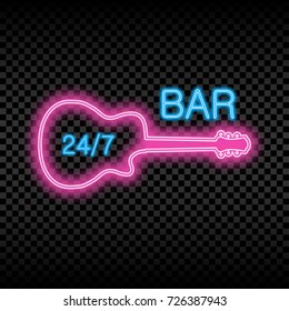 Neon bar sign with guitar. Glowing and shining bright signboard of 24/7 opened bar. Vector illustration.