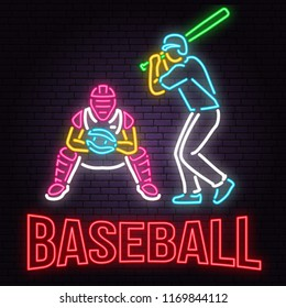 Neon Baseball or softball sign on brick wall background. Vector illustration. Neon style design with baseball batter, catcher and ball for baseball silhouette. Night bright advertisement