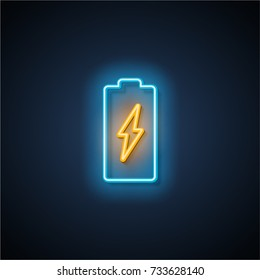 Neon battery icon. Vector illustration.