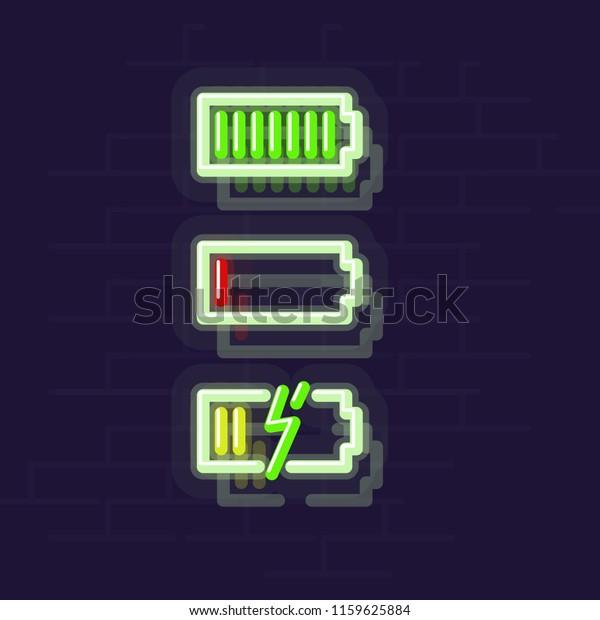 Neon Battery Status Icon Set Night Stock Vector (Royalty