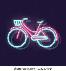 Neon bicycle silhouette. Night illuminated bike wall street sign. Isolated line art style illustration on brick wall background.