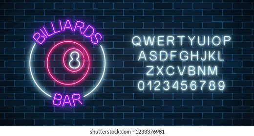 Neon billiards bar sign with alphabet on a brick wall background. Glowing billiard ball with 8 number. Night advertising symbol of taproom with pool game. Vector illustration.