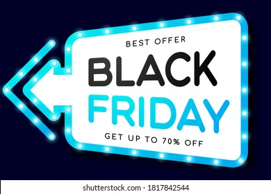 Neon black friday sale with board and arrow