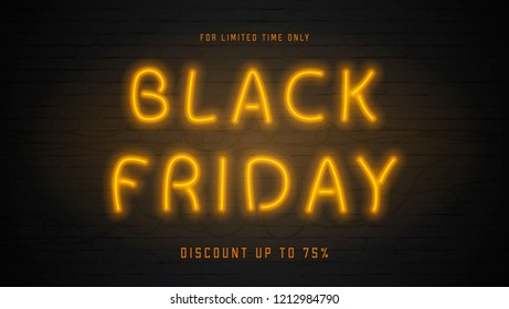 Neon Black Friday web banner. Dark brick wall background. Design for advertising with glowing orange neon text. Vector illustration.