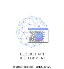 Neon blockchain development vector line icon isolated on white background. Blockchain development line icon for infographic, website or app.