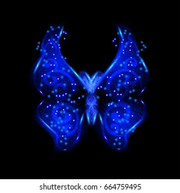 Neon blue butterfly with glowing shiny spray on black background