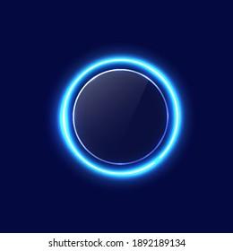Neon blue circle background. Eps 10 vector illustration.