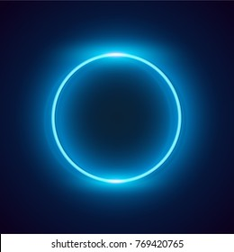 Neon blue circle background. Vector illustration.