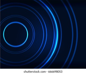 Neon blue circles vector abstract pattern background