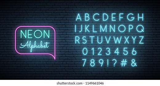 Neon blue font. English alphabet and numbers sign. Bright letters on dark wall. Vector template.