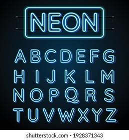 Neon blue font vector illustration. Blue neon light letters. Glowing alphabets.