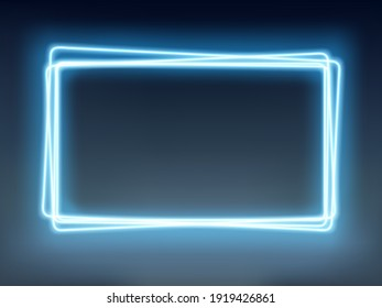 Neon blue glowing frame on a dark background. Vector illustration
