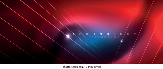Neon blue glowing lines, magic energy space light concept, abstract background wallpaper design, vector illustration
