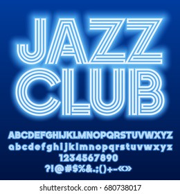 Neon blue set of Alphabet Letters, Numbers and Punctuation symbols. Font contains graphic style. Vector icon with text Jazz Club