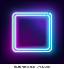Neon blue square with empty place for your text. Electronic luminous double square frame for your design, vector illustration