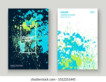 Neon blue white explosion paint splatter artistic cover design. Decorative dust splash gradient texture background. Trendy creative template vector Cover Report Catalog Brochure Flyer Product