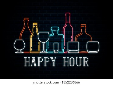 Neon bottles and glasses of whiskey, wine, tequila, champagne, cognac, rum, bourbon. Icon for night pub background. Led luminous sign for cocktail bar signboard happy hour.