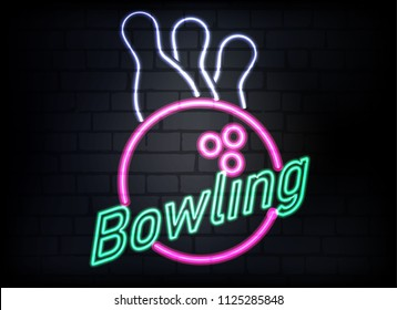 Neon bowling sign on brick wall background