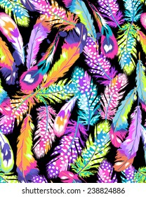 neon bright feather print ~ seamless background