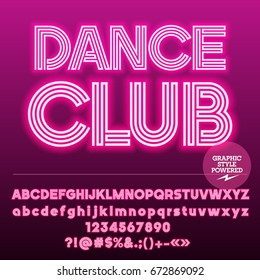 Neon bright Set of Alphabet Letters. Font contains Graphic Style. Vector icon with text Dance Club