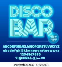 Neon bright set of Alphabet Letters, Numbers and Punctuation symbols. Font contains graphic style. Vector icon with text Disco Bar.