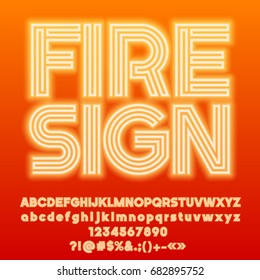 Neon bright set of Alphabet letters, Numbers and Punctuation symbols. Font contains graphic style. Vector icon with text Fire Sign.