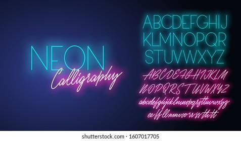 Neon calligraphy realistic vector alphabet duo.
