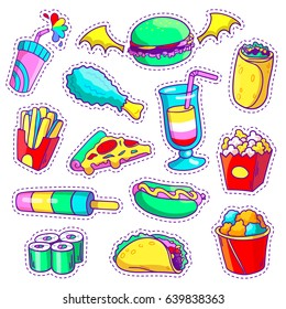 Neon cartoon set of fast food patch badges in pop art style. Vector collection of stickers and pins with meal.
