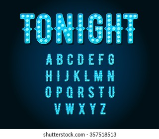 Neon Casino or Broadway Signs style light bulb Alphabet in Vector