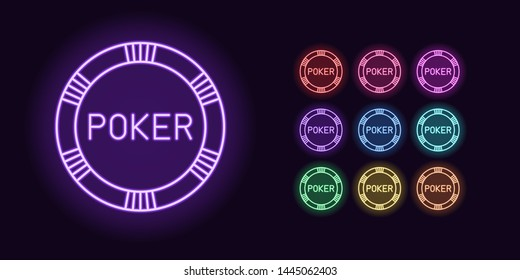 Neon Casino chip icon, Poker game. Set, glowing Poker chip in Neon style with transparent backlight. Vector silhouette, red pink purple violet blue azure green yellow orange color