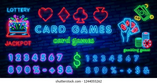 Neon casino sign. Poker, blackjack card suits, spade diamond heart club. Vintage Las Vegas glowing singage banner advertising template design. Gambling game vector illustration brick wall background