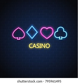 Neon casino sign. Poker, blackjack card suits, spade diamond heart club. Vintage Las Vegas glowing singage banner advertising template design. Gambling game vector illustration brick wall background