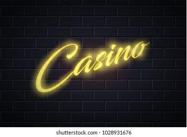 Neon casino sign. Vintage retro poker, blackjack card games, bet. Gambling Las Vegas glowing singage banner advertising template design. Gambling game vector illustration brick wall background