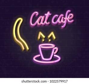 Neon cat cafe with cup logo template. Night illuminated wall street sign. Isolated line art style illustration on brick wall background.