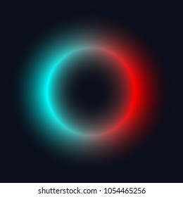 Neon circle. Bright blur halo, cosmic round frame, abstract techno banner, aura, star, glowing ring on black background. Vector illustration