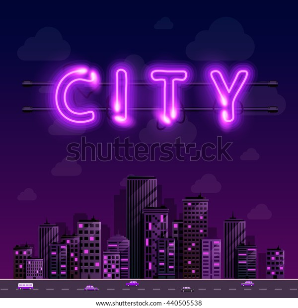 Neon city background cover, Vector illustration
