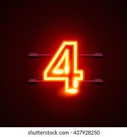 Neon city font number 4. Vector illustration