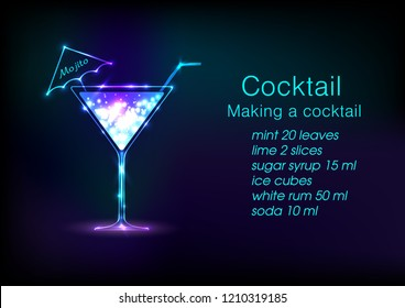 Neon Cocktail .Alcoholic beverage menu