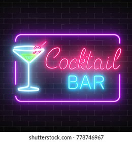 Neon cocktail bar and cafe glowing sign with geometrical frame on a brick wall background. Glow gas advertising with glass of cocktail. Drinking canteen banner. Vector illustration.