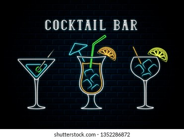 Neon cocktail bar singboard with pina colada, gin tonic and martini. Vector isolated illustration. Icon for night bar background. Led luminous sign for restaurant.