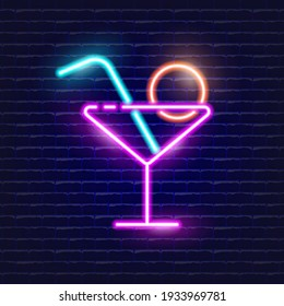 Neon Cocktail icon. Glowing Vector illustration icon for mobile, web, and menu design. Drink concept.